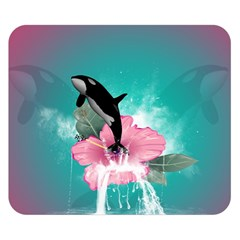 Orca Jumping Out Of A Flower With Waterfalls Double Sided Flano Blanket (Small)