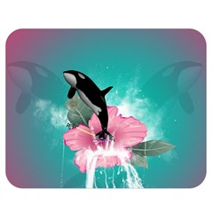 Orca Jumping Out Of A Flower With Waterfalls Double Sided Flano Blanket (Medium)