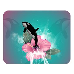 Orca Jumping Out Of A Flower With Waterfalls Double Sided Flano Blanket (Large)