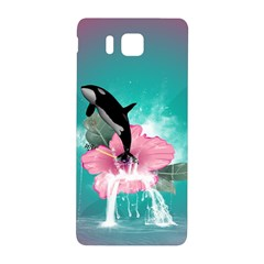 Orca Jumping Out Of A Flower With Waterfalls Samsung Galaxy Alpha Hardshell Back Case