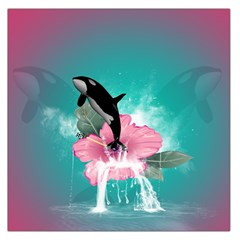 Orca Jumping Out Of A Flower With Waterfalls Large Satin Scarf (Square)