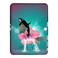 Orca Jumping Out Of A Flower With Waterfalls Samsung Galaxy Tab 4 (10.1 ) Hardshell Case