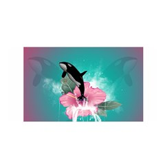 Orca Jumping Out Of A Flower With Waterfalls Satin Wrap