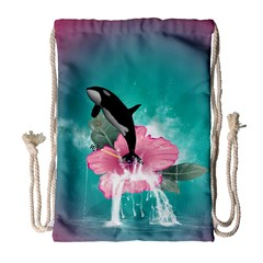 Orca Jumping Out Of A Flower With Waterfalls Drawstring Bag (large)