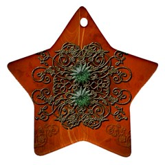 Wonderful Floral Elements On Soft Red Background Ornament (Star)