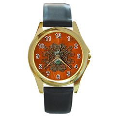 Wonderful Floral Elements On Soft Red Background Round Gold Metal Watches