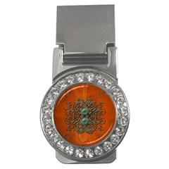 Wonderful Floral Elements On Soft Red Background Money Clips (CZ)