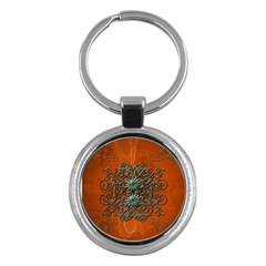Wonderful Floral Elements On Soft Red Background Key Chains (Round)