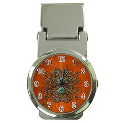 Wonderful Floral Elements On Soft Red Background Money Clip Watches