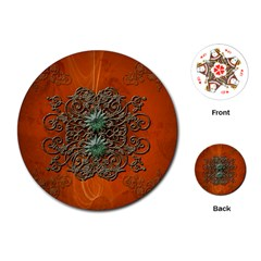 Wonderful Floral Elements On Soft Red Background Playing Cards (round)