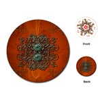 Wonderful Floral Elements On Soft Red Background Playing Cards (Round)  Front