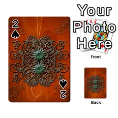 Wonderful Floral Elements On Soft Red Background Playing Cards 54 Designs