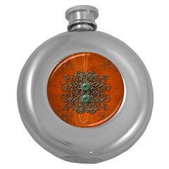 Wonderful Floral Elements On Soft Red Background Round Hip Flask (5 oz)