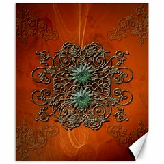 Wonderful Floral Elements On Soft Red Background Canvas 8  x 10