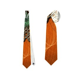 Wonderful Floral Elements On Soft Red Background Neckties (One Side)