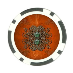 Wonderful Floral Elements On Soft Red Background Poker Chip Card Guards