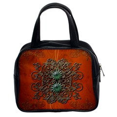 Wonderful Floral Elements On Soft Red Background Classic Handbags (2 Sides)