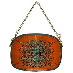 Wonderful Floral Elements On Soft Red Background Chain Purses (One Side)
