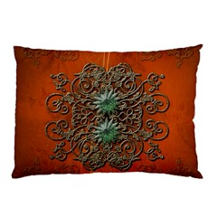 Wonderful Floral Elements On Soft Red Background Pillow Cases