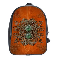 Wonderful Floral Elements On Soft Red Background School Bags(Large)