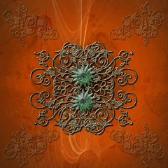 Wonderful Floral Elements On Soft Red Background Magic Photo Cubes