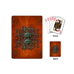 Wonderful Floral Elements On Soft Red Background Playing Cards (Mini)