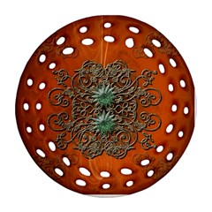 Wonderful Floral Elements On Soft Red Background Round Filigree Ornament (2side)
