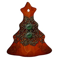 Wonderful Floral Elements On Soft Red Background Christmas Tree Ornament (2 Sides)