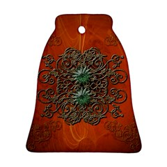 Wonderful Floral Elements On Soft Red Background Bell Ornament (2 Sides)