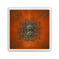 Wonderful Floral Elements On Soft Red Background Memory Card Reader (Square)
