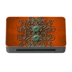 Wonderful Floral Elements On Soft Red Background Memory Card Reader with CF