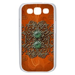 Wonderful Floral Elements On Soft Red Background Samsung Galaxy S III Case (White)