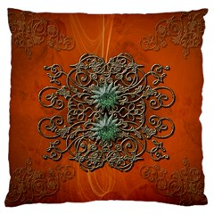 Wonderful Floral Elements On Soft Red Background Large Cushion Cases (Two Sides)