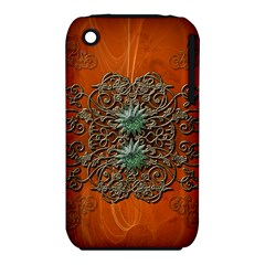 Wonderful Floral Elements On Soft Red Background Apple iPhone 3G/3GS Hardshell Case (PC+Silicone)