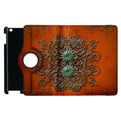 Wonderful Floral Elements On Soft Red Background Apple iPad 3/4 Flip 360 Case