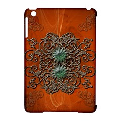 Wonderful Floral Elements On Soft Red Background Apple iPad Mini Hardshell Case (Compatible with Smart Cover)