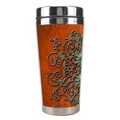 Wonderful Floral Elements On Soft Red Background Stainless Steel Travel Tumblers