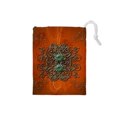 Wonderful Floral Elements On Soft Red Background Drawstring Pouches (Small)