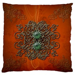 Wonderful Floral Elements On Soft Red Background Large Flano Cushion Cases (Two Sides)