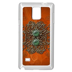 Wonderful Floral Elements On Soft Red Background Samsung Galaxy Note 4 Case (White)