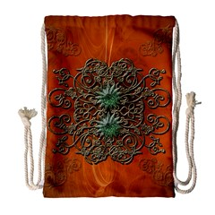 Wonderful Floral Elements On Soft Red Background Drawstring Bag (Large)