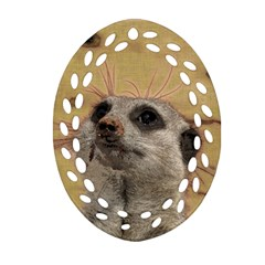 Meerkat 2 Oval Filigree Ornament (2 Side)