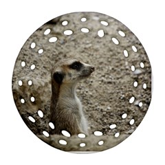 Adorable Meerkat Round Filigree Ornament (2Side)