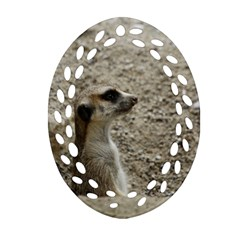 Adorable Meerkat Ornament (Oval Filigree)