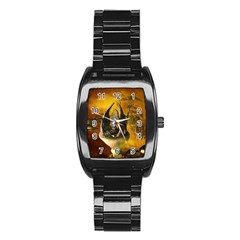 The Forgotten World In The Sky Stainless Steel Barrel Watch