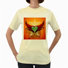 Beautiful Heart Made Of Diamond With Wings And Floral Elements Women s Yellow T-Shirt