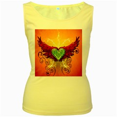 Beautiful Heart Made Of Diamond With Wings And Floral Elements Women s Yellow Tank Tops
