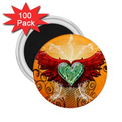 Beautiful Heart Made Of Diamond With Wings And Floral Elements 2.25  Magnets (100 pack)