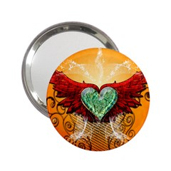 Beautiful Heart Made Of Diamond With Wings And Floral Elements 2.25  Handbag Mirrors