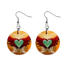 Beautiful Heart Made Of Diamond With Wings And Floral Elements Mini Button Earrings